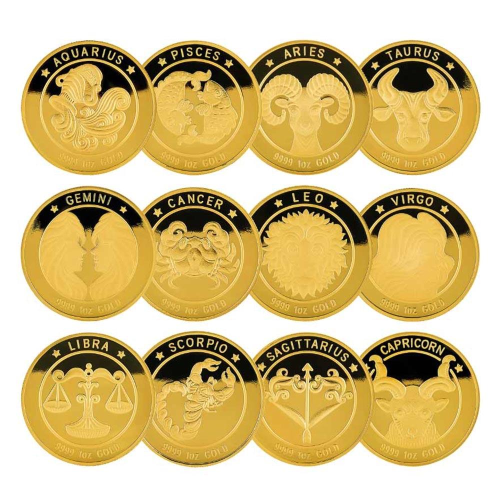 1온스 황도 12성좌 별자리 골드 불리온 메달